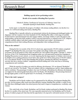 Building capacity in low-performing readers: Results of two months of Reading Plus practice
