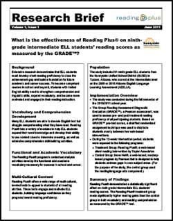 What is the effectiveness of Reading Plus on ninth-grade intermediate ELL students' reading scores as measured by the GRADE