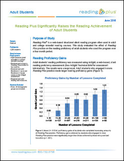 Reading Plus Significantly Raises the Reading Achievement of Adult Students